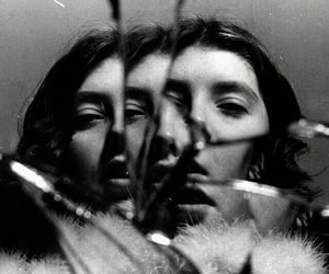 black and white, mirror, and photography image