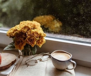 coffee, autumn, and flowers image