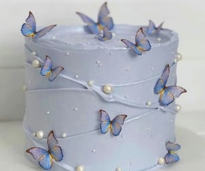 butterfly, blue, and cake image