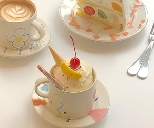 cute, cake, and coffee image