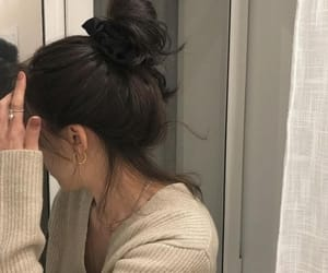 black, bun, and hair image