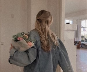 flowers, hair, and style image