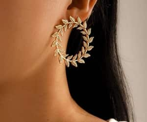 earrings, wreath, and gold image