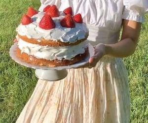 cake, strawberry, and cottagecore image
