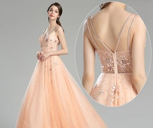 v-neck, prom ball dress, and lace formal wear image
