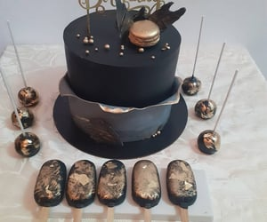 black, cake, and dessert image