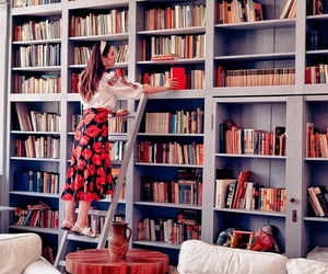 books, girls, and home image