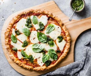 food, pizza, and pesto image