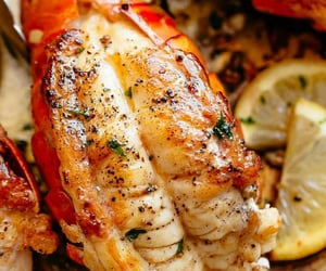 food, herbs, and seafood image