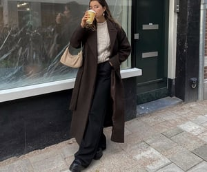 knitwear, everyday look, and brown coat image