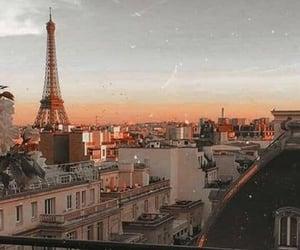paris, sky, and sunset image