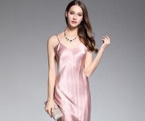 pretty dress, feminine fashion, and silk dress image