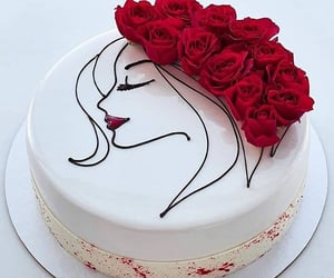 birthday cake, cakes, and flowers image