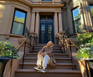 brownstone, city, and house image