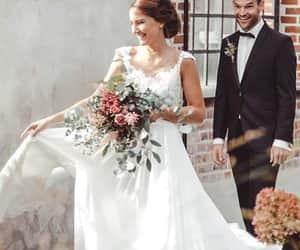 beach wedding dress, dress, and fashion image
