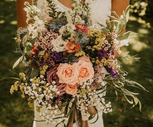 bouquet, wedding, and flowers image