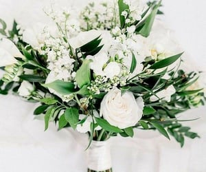bouquet, wedding, and greenery image