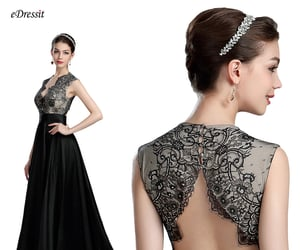 open back, prom ball dress, and lace party dress image