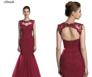 open back, party dress, and lace prom dress image
