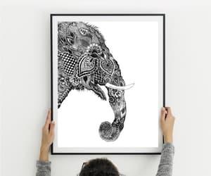 elephant print, elephant wall art, and yoga poster image