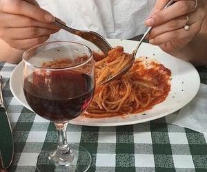 food, wine, and spaghetti image