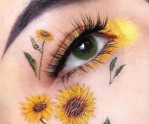 eye, flowers, and make up image