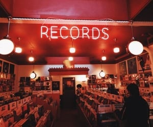 music, records, and red image