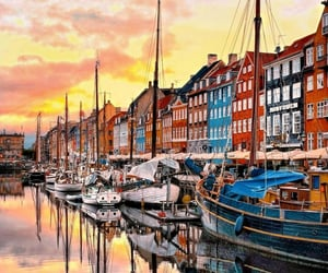 copenhagen, evening, and colored houses image