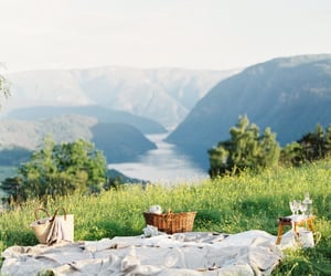 picnic, nature, and mountains image
