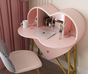 furniture, 💗, and pink desk image