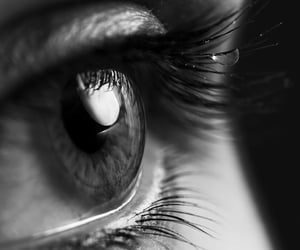 black and white, cry, and eye image