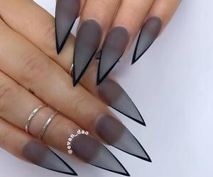 black nails, girl, and nail art image