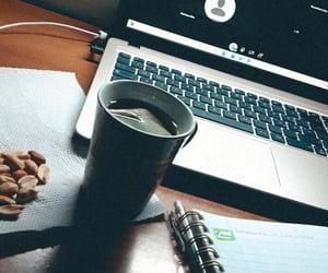 computer, tea, and book image