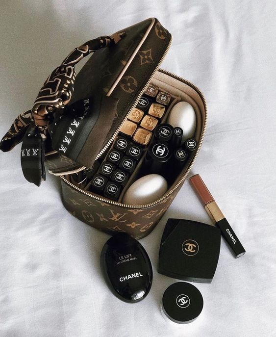 Louis Vuitton, chanel, and cosmetics image