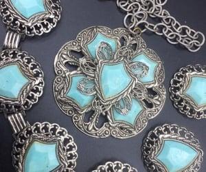 aqua necklace, mad men mod, and vintage jewelry set image