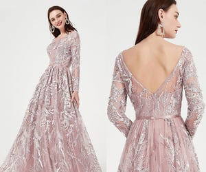 long sleeves, lace prom gown, and party dress image