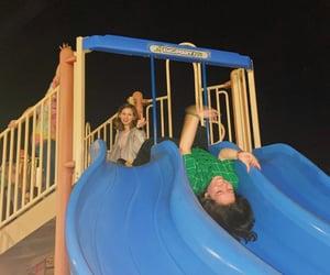 night, nighttime, and playground image