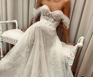 dress, lace, and long image