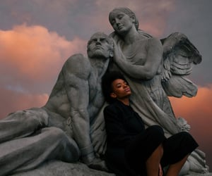 sky, statue, and aesthetic image