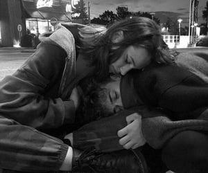 black&white, couple, and cuddle image