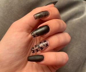 black nails, butterfly, and coffin image