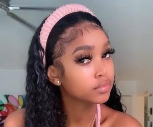 black hair, curly hair, and edges image