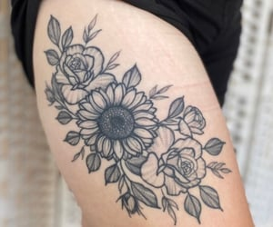 leg tattoo, thigh, and rose tattoo image