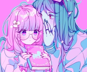 anime couple, anime aesthetic, and anime pink and blue image