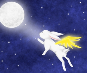 bunny, moon, and night image