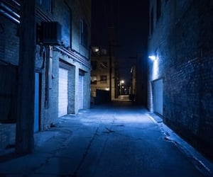 alley, night, and blue lights image