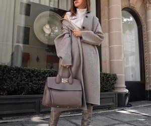 blogger, fashion, and grey coat image