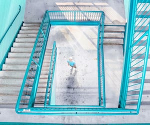 staircase, turquoise, and blue image