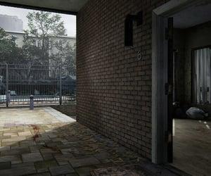 apartment, pool, and brick image