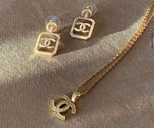 chanel, gold, and earrings image